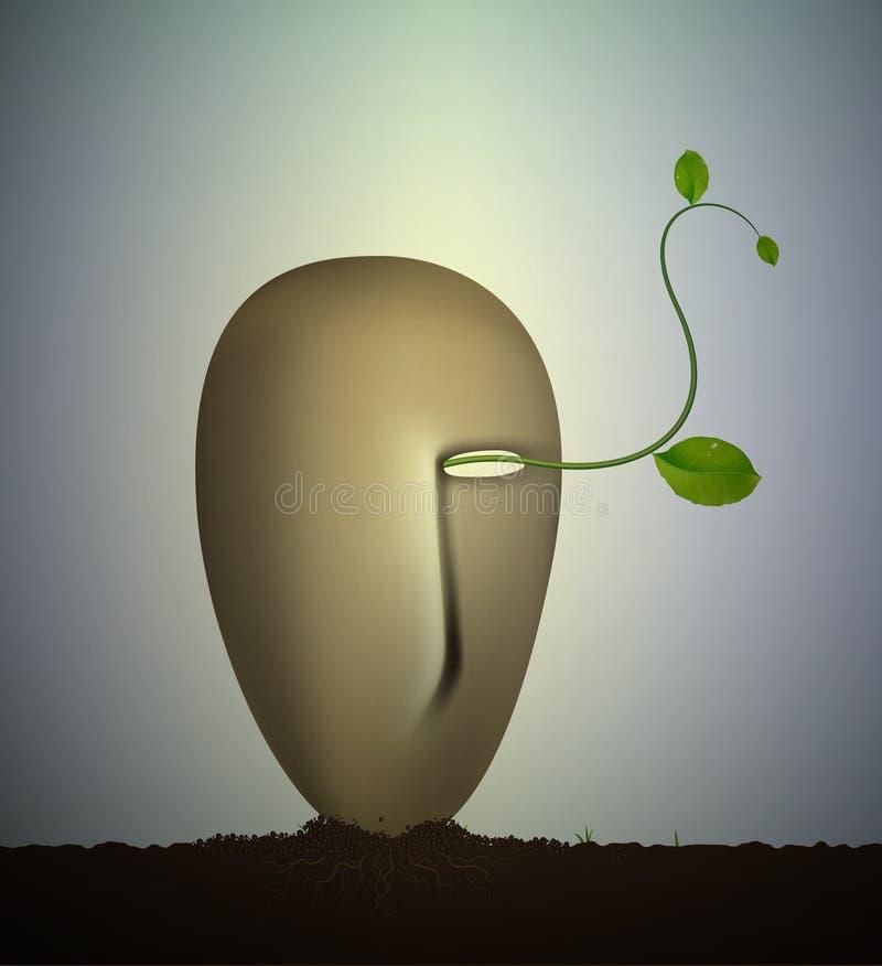 Wśrodku natury, nadrealizm rzeźba, ziemia sen, zasadza żywego pomysł, ilustracji