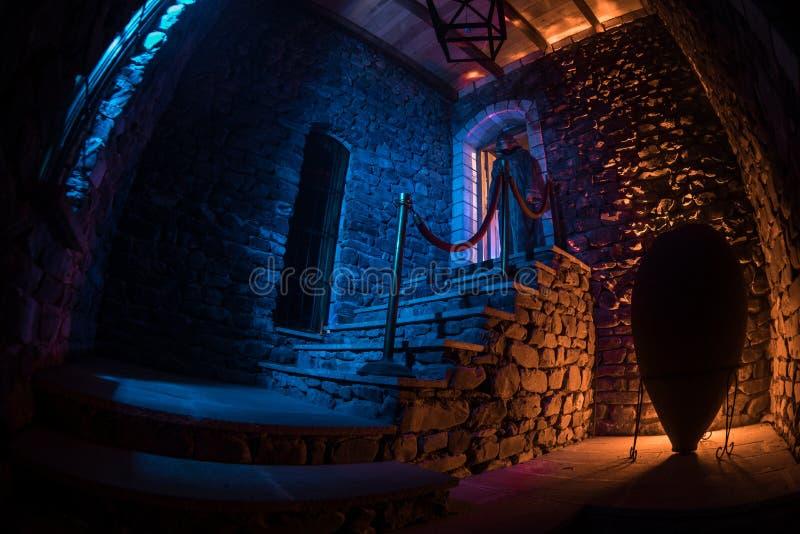Wśrodku starego przerażającego zaniechanego dworu Schody i kolumnada Sylwetka horroru ducha pozycja na grodowych schodkach bas zdjęcia royalty free