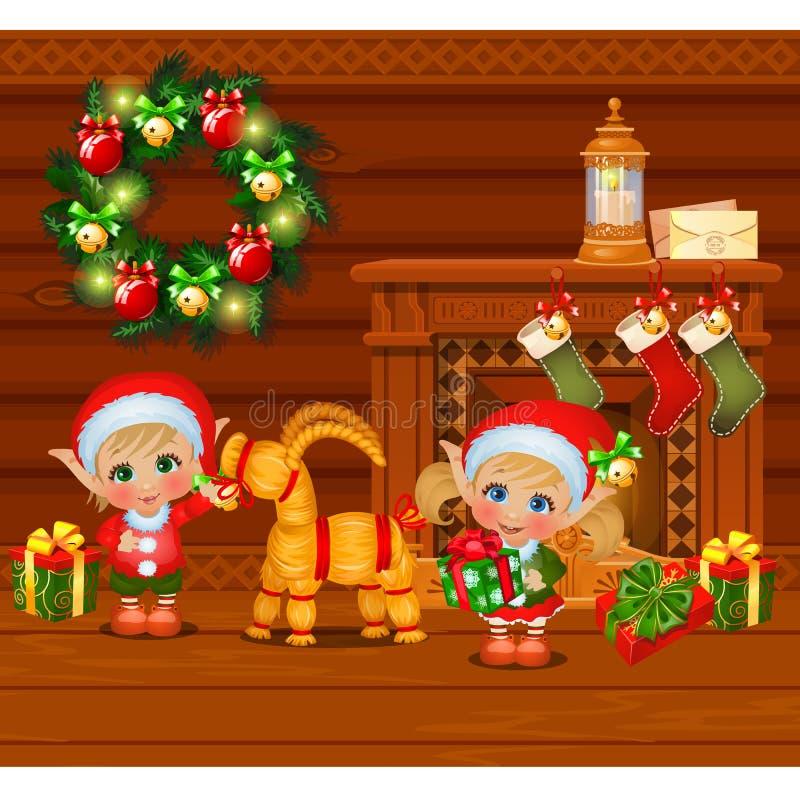 Wśrodku starego wygodnego drewnianego wioska domu Domowy meblowanie Chłopiec i dziewczyny Święty Mikołaj pomagiery i słomiani cak royalty ilustracja