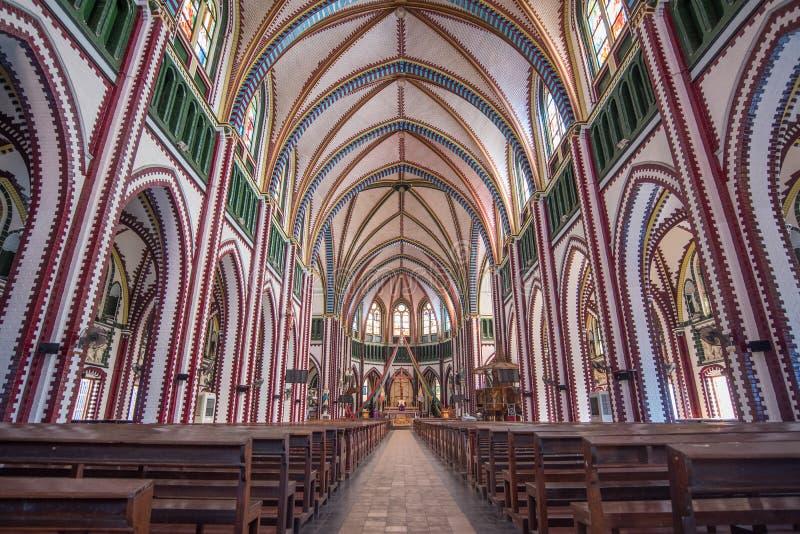 Wśrodku StMary ` s katedry w Yangon, Myanmar zdjęcie stock