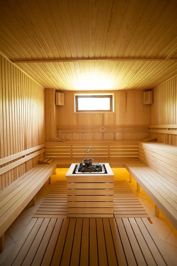 Wśrodku suchego sauna szerokiego widoku fotografia stock