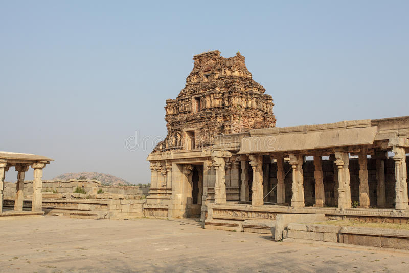 Wśrodku Vittala Hinduskiej świątyni w antycznym miejscu Hampi, Karnataka, India obrazy stock