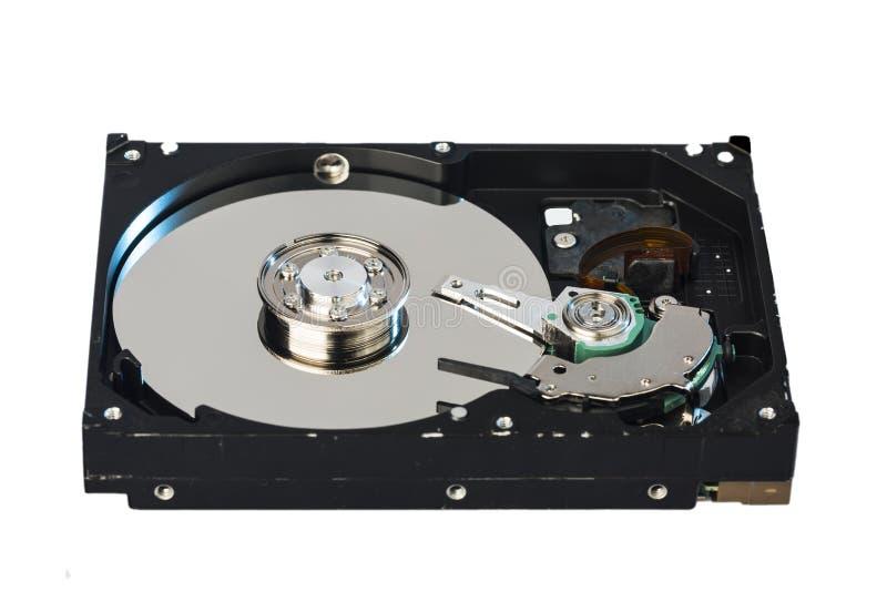 Wśrodku wewnętrznej Ciężkiej przejażdżki HDD na białym tle fotografia royalty free