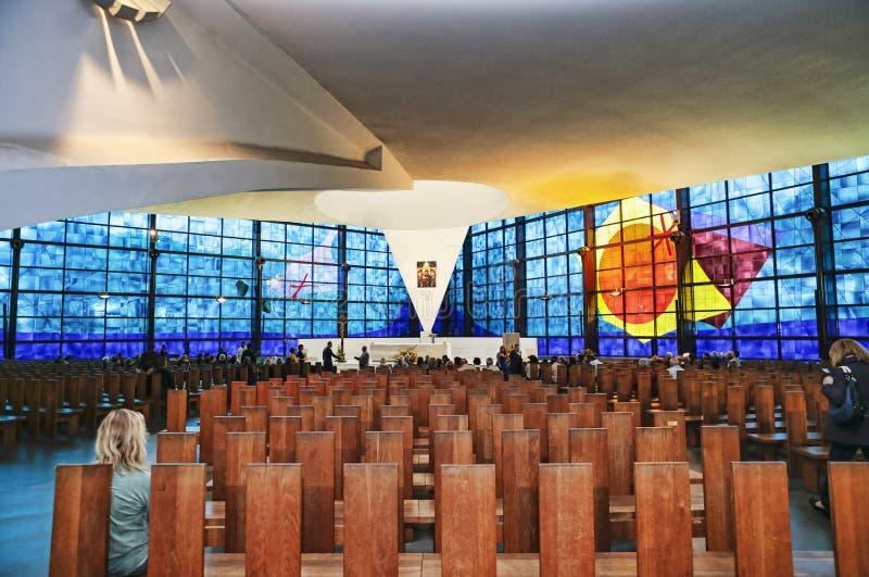 Wśrodku widoku nowy kościół madonna Przeczuwałam miłość, sławny miejsce przeznaczenia Rzym, Włochy Katolicka pielgrzymka - zdjęcia stock