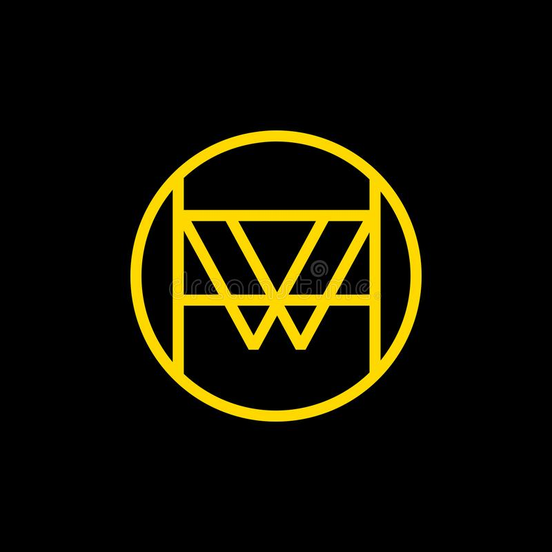 W传染媒介商标设计 W线性象征 库存例证