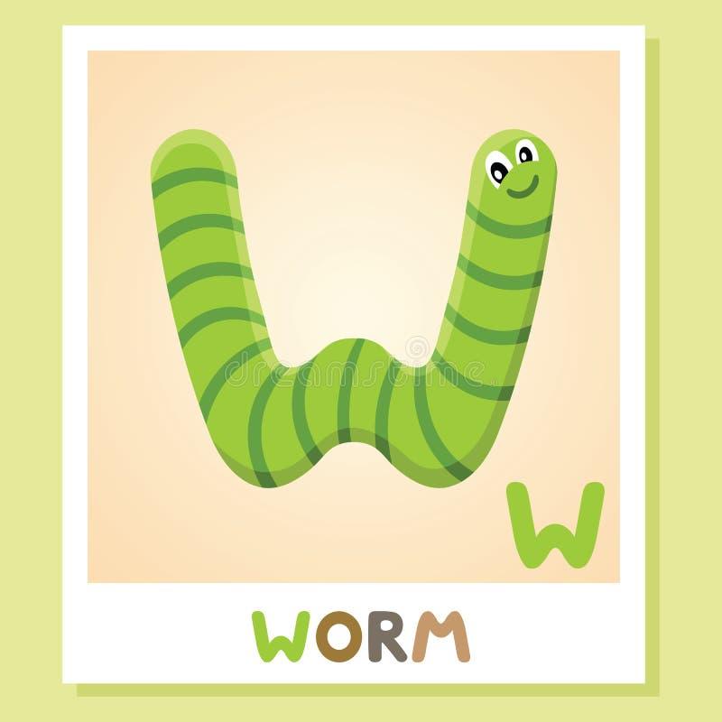 W是为蠕虫 信函w 蠕虫,逗人喜爱的例证 字母表动物背景镜象向量白色 皇族释放例证