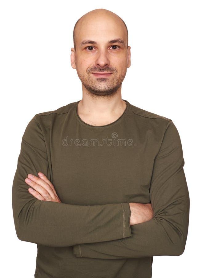 W średnim wieku łysy mężczyzna odizolowywający fotografia stock