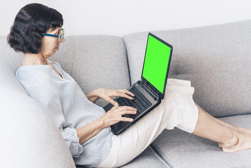 W średnim wieku brunetki kobieta z szkłami na szarej kanapie pracuje na zieleń ekranu laptopie, miękka ostrość zdjęcia royalty free