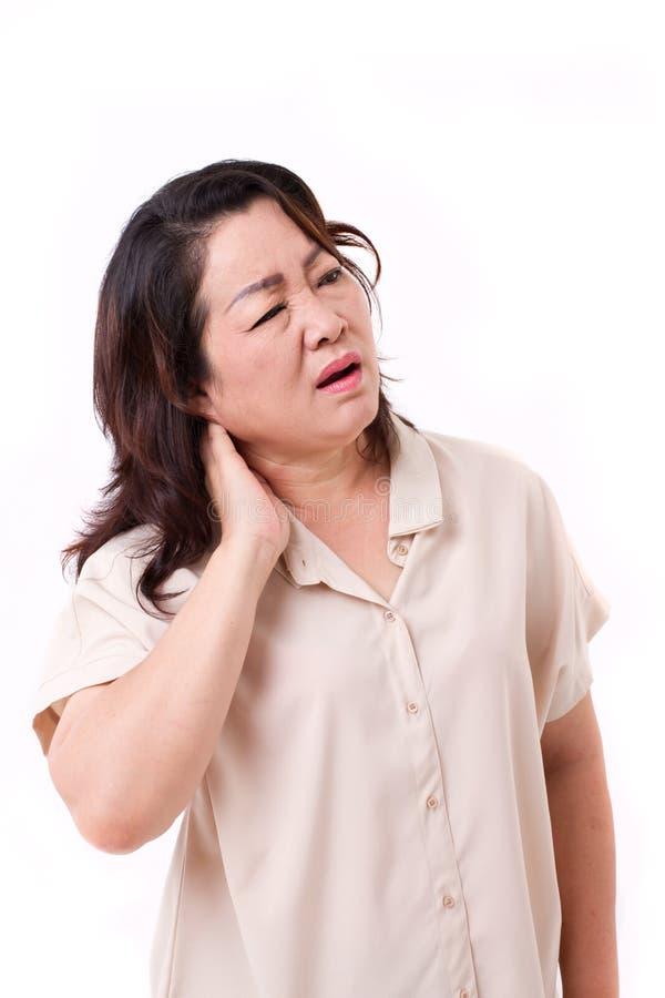 W średnim wieku kobiety cierpienie od szyja bólu zdjęcie royalty free