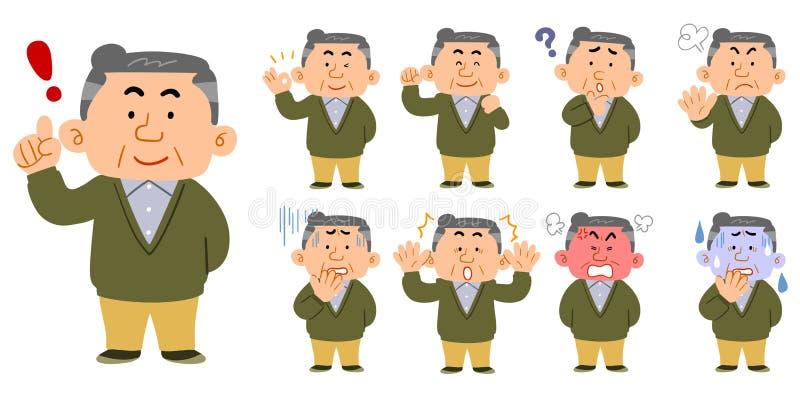 W średnim wieku mężczyźni jest ubranym przypadkowych ubrania 9 rodzajów pozy ilustracji