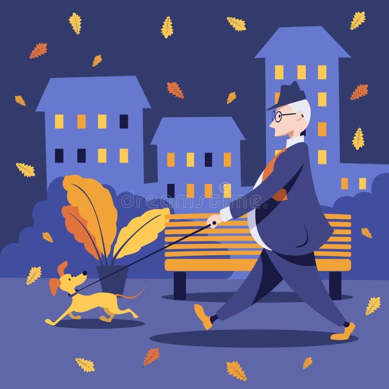 W średnim wieku mężczyzna w kostiumu chodzi outdoors z jego psem ilustracji