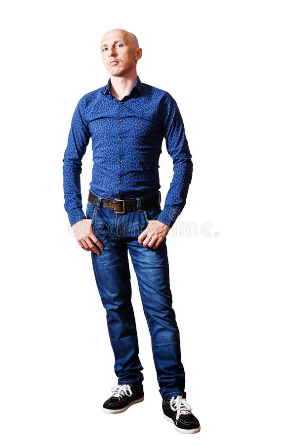W średnim wieku mężczyzna w błękitnej koszula i cajgach zdjęcie royalty free