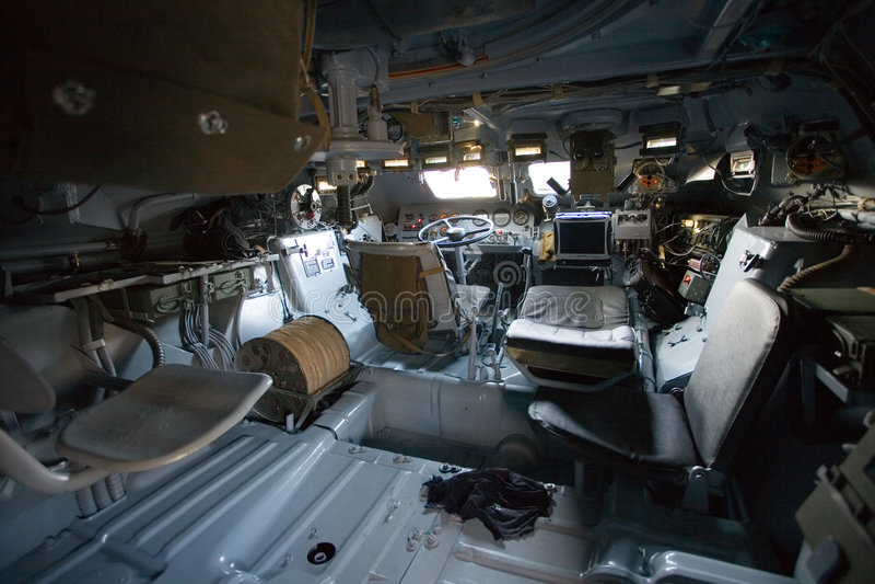 w środku pojazdu od wojskowego fotografia stock