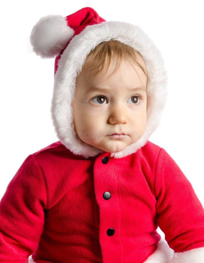 W Święty Mikołaj śmieszny dziecko odziewa obrazy stock