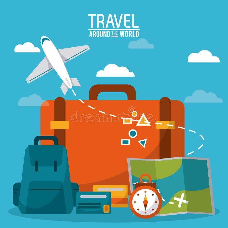 w świecie podróży bagażu czasu kredytowej karty nieba płaski tło royalty ilustracja
