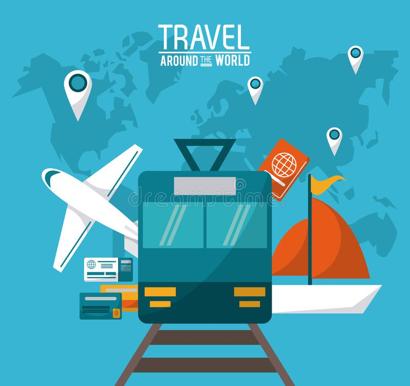w świecie podróży przewiezionych pojazdów paszport i wałkowy mapa świat ilustracji