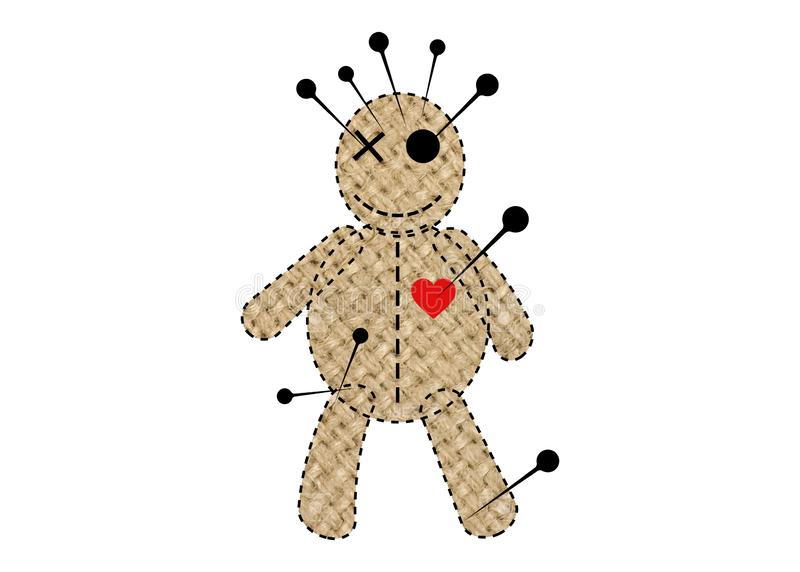 Voodoo Doll Halloween Concept Icon of jute fabric, cartoon doll in unrequited love, T-shirt design, rag doll for magic,  royalty free illustration