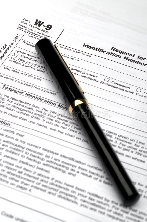 Free W-9 Tax Form And A Pen Stock Images - 12374974