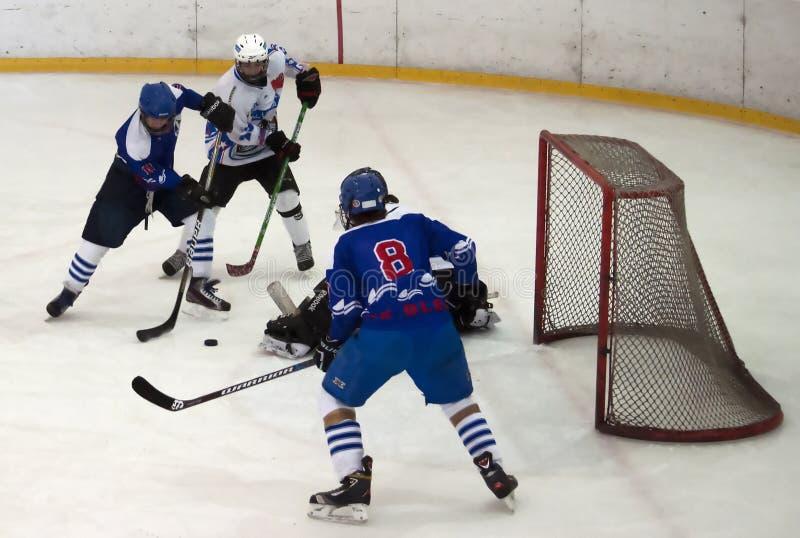 W action-1 lodowi gracz w hokeja fotografia royalty free