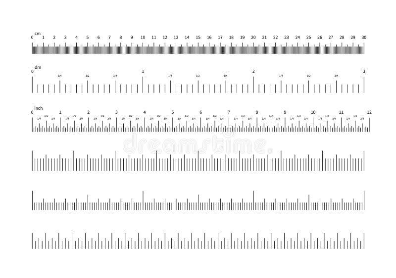 w?adcy skala Cala i cm pomiarowe skale Horyzontalne kalibracyjne precyzja rozmiaru jednostki dla władc i wskaźników wektor royalty ilustracja