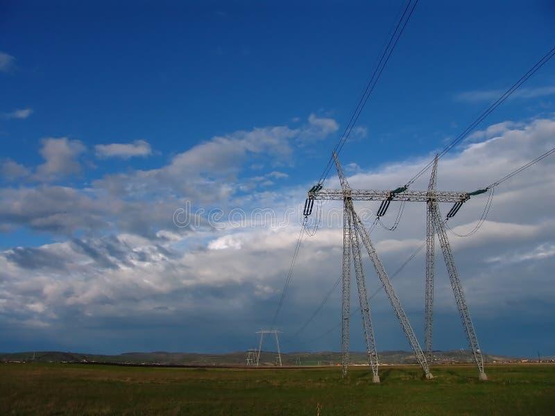 Władze Pilon Linii Energii Elektrycznej Fotografia Stock