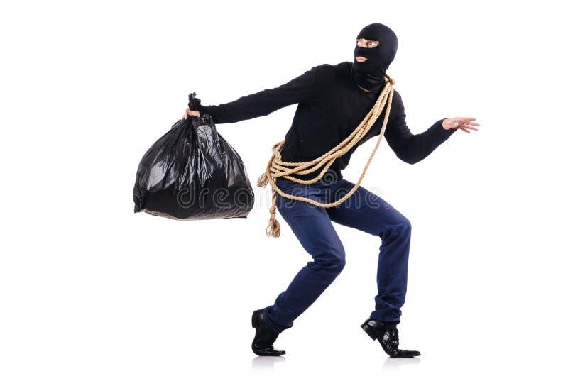 Włamywacz jest ubranym balaclava