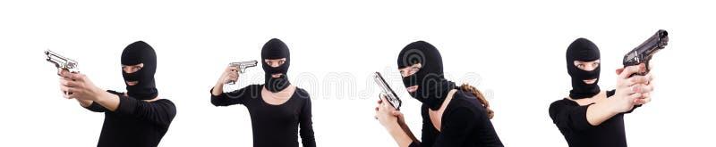 W?amywacz z pistolecikiem odizolowywaj?cym na bielu zdjęcie royalty free