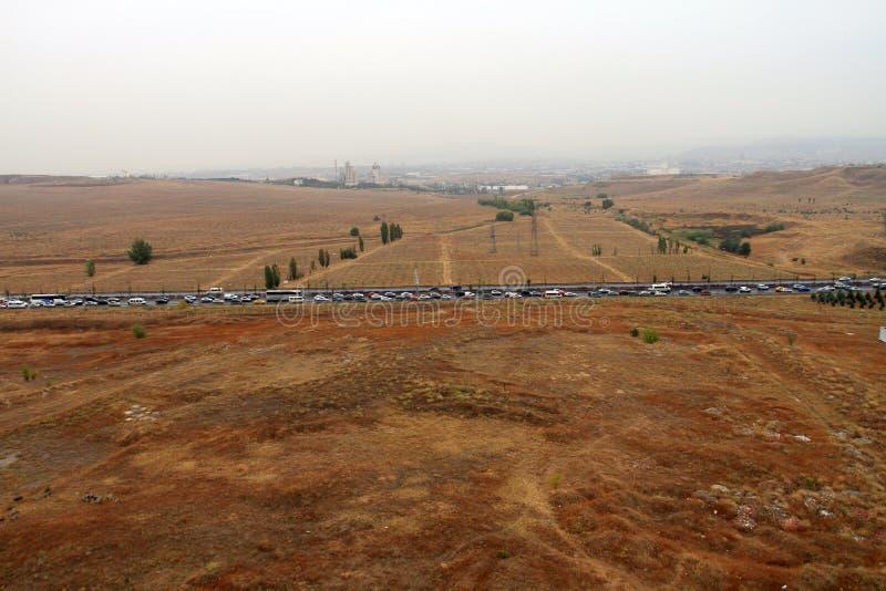 W Ankara wieczór ruchu drogowym, samochody ledwo ruszają się zdjęcie stock