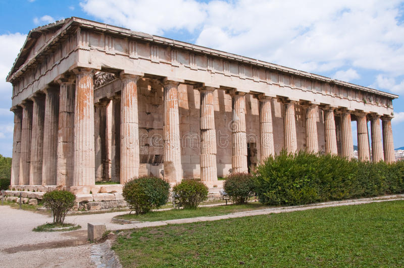 W Antycznej Agorze Teseo's Świątynia (Ateny) fotografia stock