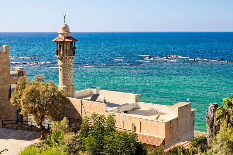 W antycznym Jaffa denny meczet obrazy royalty free