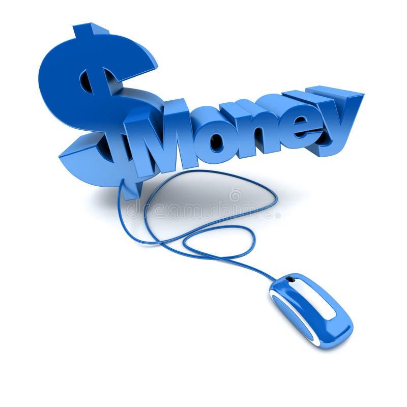 W błękit online pieniądze ilustracja wektor