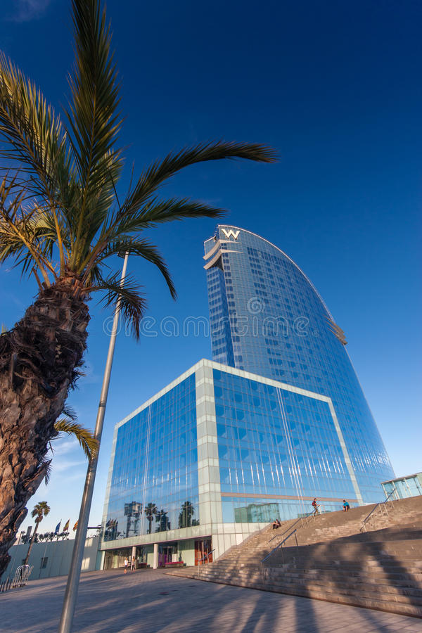 W Barcelona Hotel, also known as the Hotel Vela. BARCELONA, SPAIN - NOVEMBER 10, 2015: W Barcelona Hotel, also known as the Hotel Vela (Sail Hotel) on November royalty free stock photos