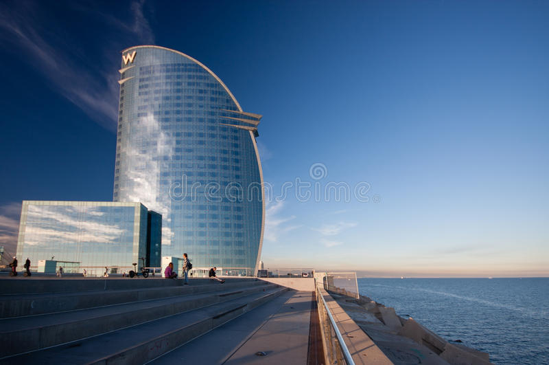 W Barcelona Hotel, also known as the Hotel Vela. BARCELONA, SPAIN - NOVEMBER 10, 2015: W Barcelona Hotel, also known as the Hotel Vela (Sail Hotel) on November stock image