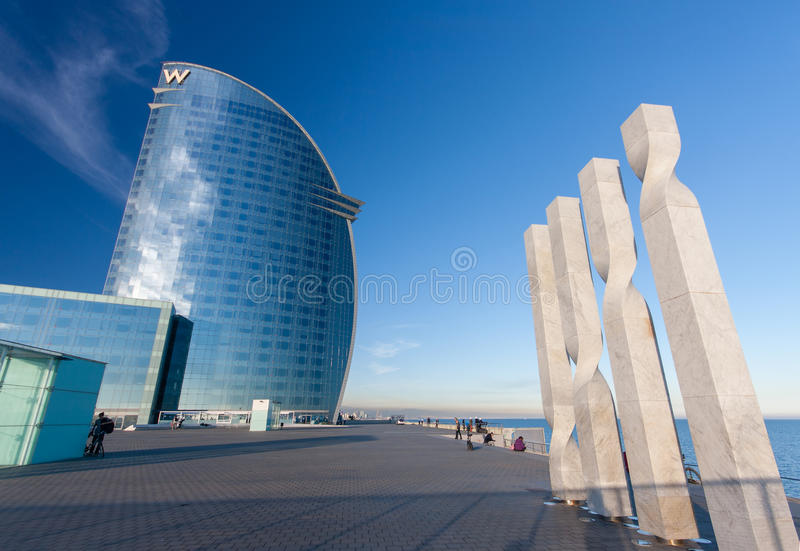 W Barcelona Hotel, also known as the Hotel Vela. BARCELONA, SPAIN - NOVEMBER 10, 2015: W Barcelona Hotel, also known as the Hotel Vela (Sail Hotel) on November stock photos