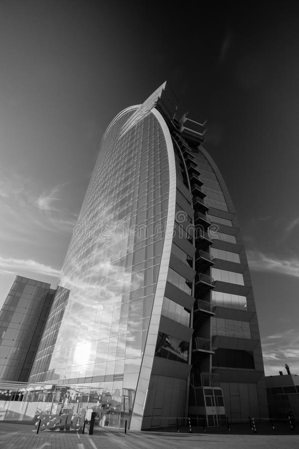 W Barcelona Hotel, also known as the Hotel Vela. BARCELONA, SPAIN - NOVEMBER 10, 2015: W Barcelona Hotel, also known as the Hotel Vela (Sail Hotel) on November royalty free stock photo