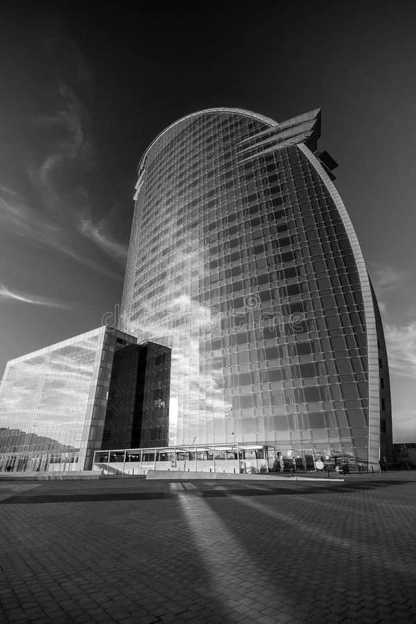 W Barcelona Hotel, also known as the Hotel Vela. BARCELONA, SPAIN - NOVEMBER 10, 2015: W Barcelona Hotel, also known as the Hotel Vela (Sail Hotel) on November stock photography
