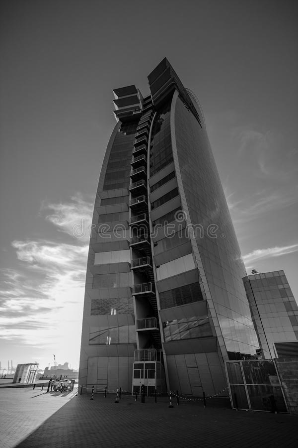W Barcelona Hotel, also known as the Hotel Vela. BARCELONA, SPAIN - NOVEMBER 10, 2015: W Barcelona Hotel, also known as the Hotel Vela (Sail Hotel) on November royalty free stock image