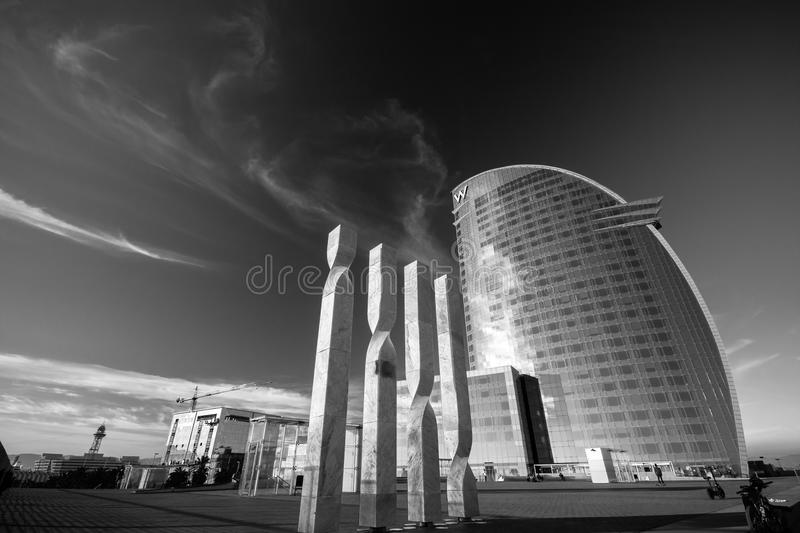 W Barcelona Hotel, also known as the Hotel Vela. BARCELONA, SPAIN - NOVEMBER 10, 2015: W Barcelona Hotel, also known as the Hotel Vela (Sail Hotel) on November royalty free stock photography
