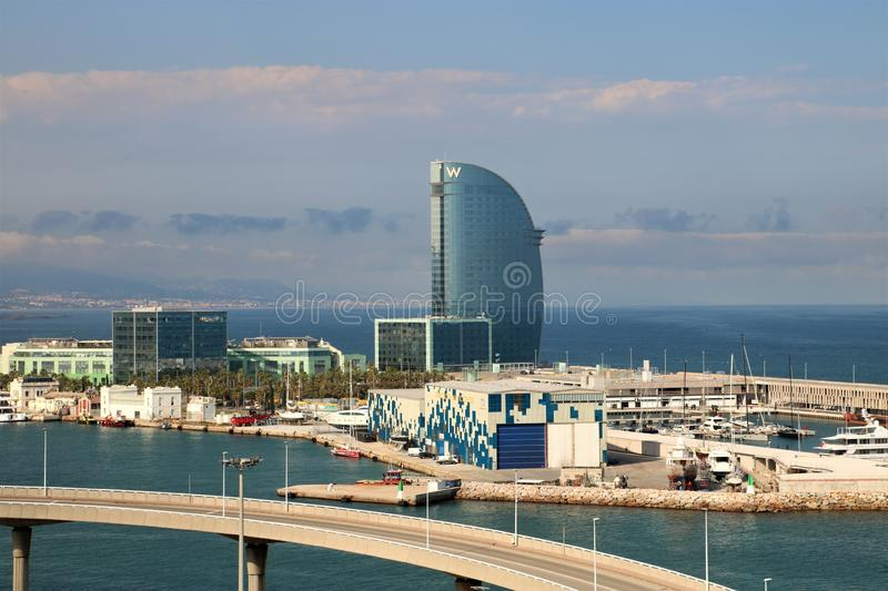 W Barcelona Hotel. Famous five-star W Barcelona Hotel aka Hotel Vela - Sail designed by Ricardo Bofill. It is located in the Barceloneta district of Barcelona royalty free stock photo