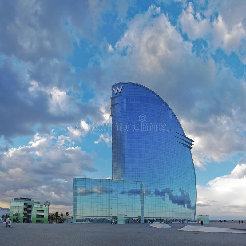 W Barcelona Hotel. BARCELONA, SPAIN - JULY 20: W Barcelona Hotel, known as the Hotel Vela (Sail Hotel), designed by Architect Ricardo Bofill on July 20, 2014 in stock photos