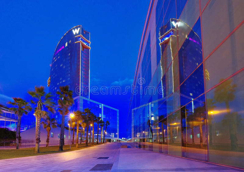 W Barcelona Hotel. BARCELONA, SPAIN - JULY 20: W Barcelona Hotel, known as the Hotel Vela (Sail Hotel), designed by Architect Ricardo Bofill on July 20, 2014 in royalty free stock photography