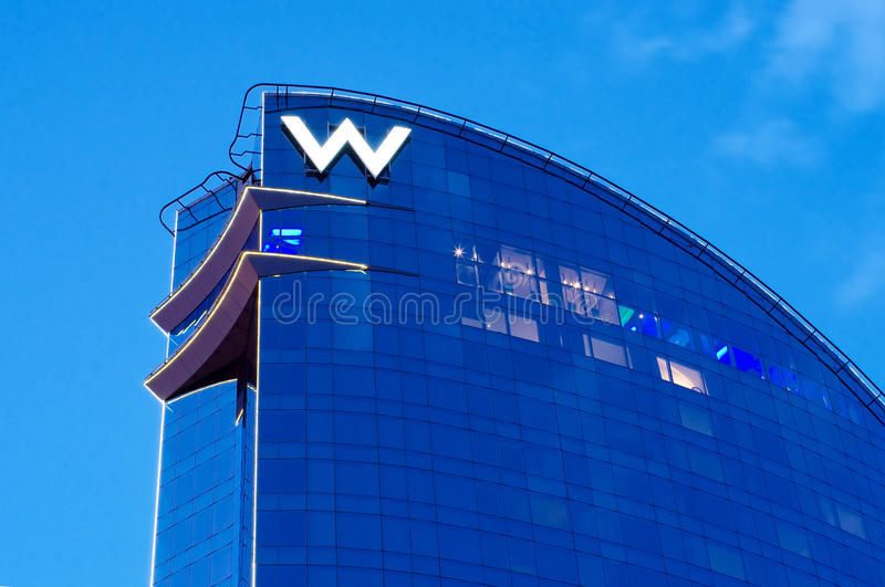 W Barcelona Hotel. BARCELONA, SPAIN - JULY 20: W Barcelona Hotel, known as the Hotel Vela (Sail Hotel), designed by Architect Ricardo Bofill on July 20, 2014 in royalty free stock photo