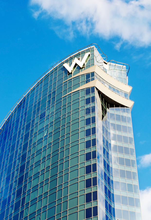W Barcelona Hotel. BARCELONA, SPAIN - JULY 20: W Barcelona Hotel, known as the Hotel Vela (Sail Hotel), designed by Architect Ricardo Bofill on July 20, 2014 in royalty free stock image