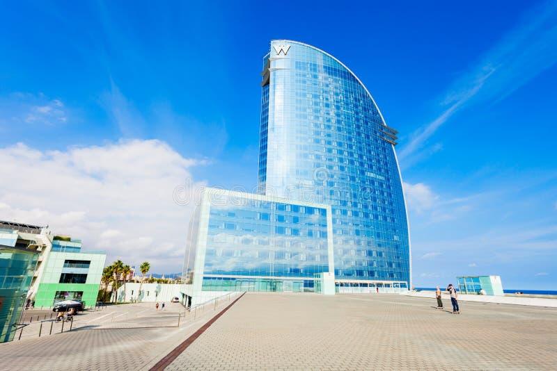 W Barcelona Hotel Vela, Barceloneta. BARCELONA, SPAIN - OCTOBER 02, 2017: W Barcelona or Hotel Vela designed by Ricardo Bofill is located in the Barceloneta stock photo