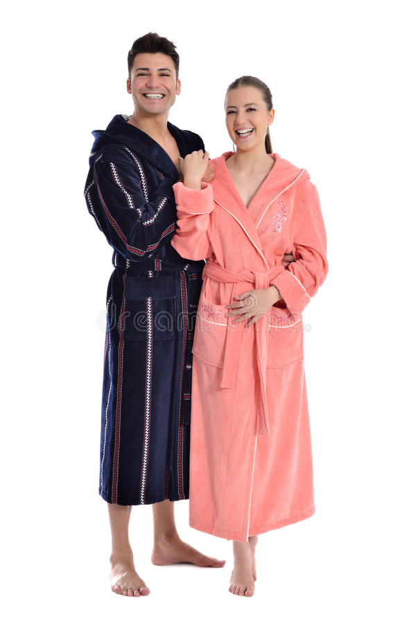 W bathrobe piękna młoda kobieta zdjęcie stock