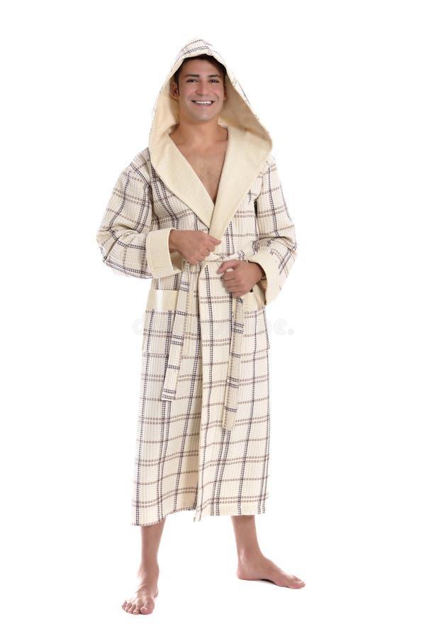 W bathrobe piękna młoda kobieta fotografia stock