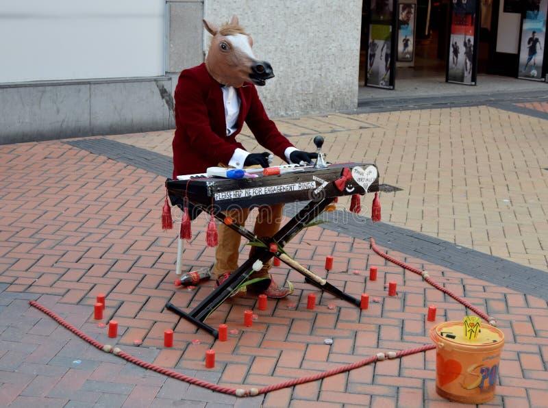 W Birmingham śródmieściu koń bawić się na pianinie obrazy royalty free