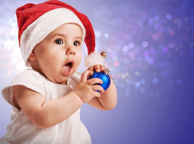 W bożych narodzeniach kapeluszowych ładna dziewczynka obrazy stock