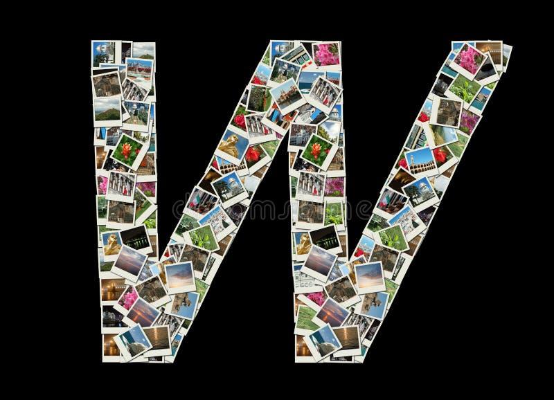 W- brief - collage van reisfoto's stock foto's