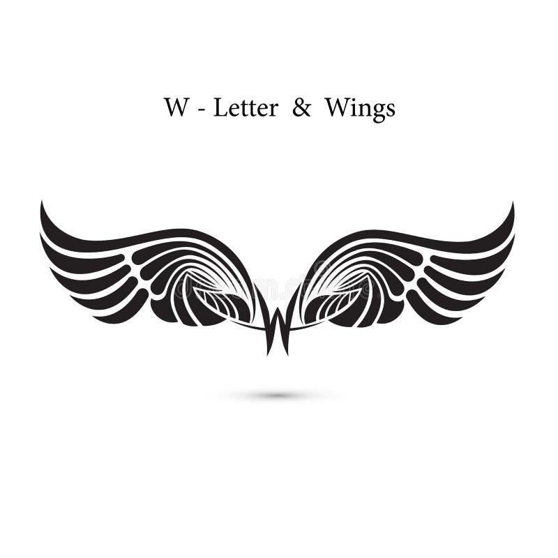 W-brief teken en engelenvleugels Het embleemmodel van de monogramvleugel klassiek vector illustratie